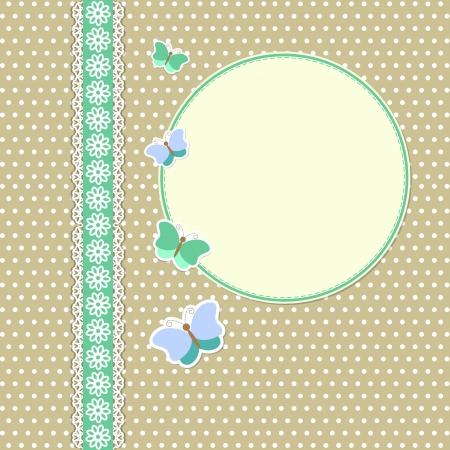 スクラップブッキング: 蝶とビンテージ フレーム