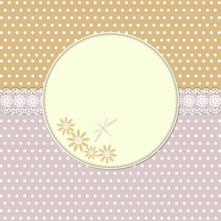 Vintage frame with flowers and dragonfly Vector