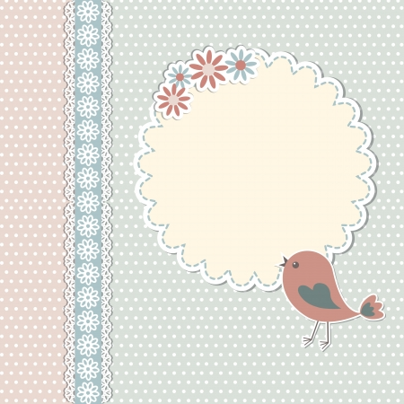 Vintage template with bird and flowers