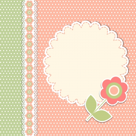 scrap booking: Vintage template with flower Illustration