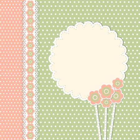 スクラップブッキング: 花を持つヴィンテージ テンプレート