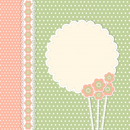 scrap booking: Vintage template with flowers