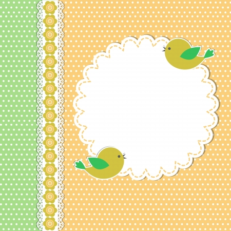 Vintage template with two birds Vector