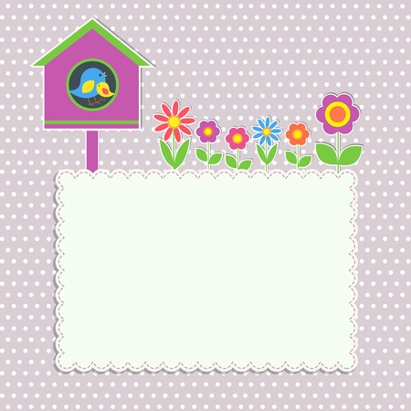 Frame with birdhouse with family of birds and flowers Vector
