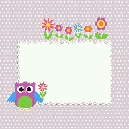 Frame with cute owl and flowers Illustration
