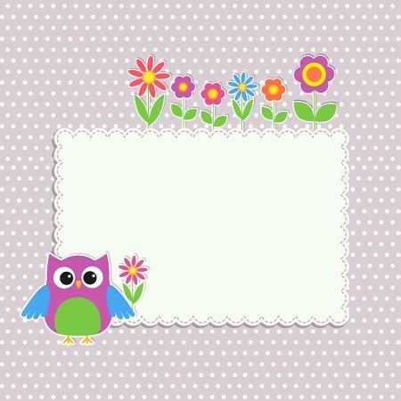 Frame with cute owl and flowers Ilustração