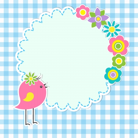 Round frame with cute bird and flowers Vector