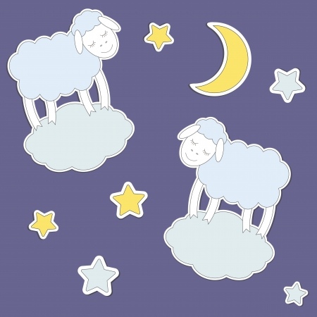 Cute sheep,moon and stars. Vector seamless pattern  Vector