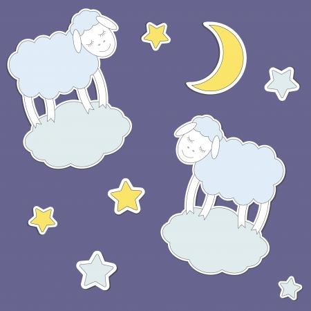 ovejita bebe: Ovejas lindas, la luna y las estrellas. Vector sin patr�n