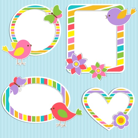 baby stickers: Set of vector cute frames