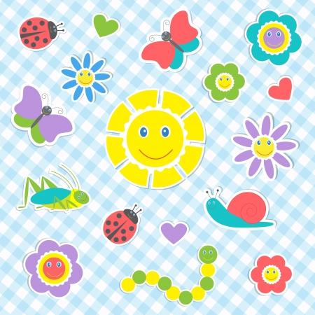 niños dibujando: Conjunto de vectores lindos insectos y flores