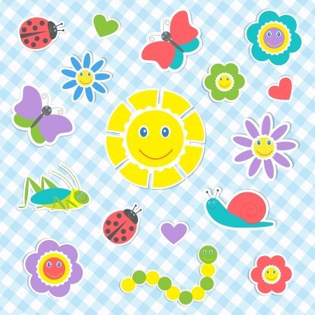 Set of vector cute insects and flowers Vector