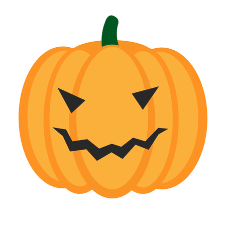 harvest time: Cartoon halloween pumpkin with smile isolated. Vector icon