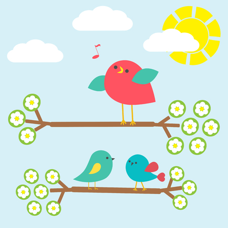 birdsong: Set of cute birds on springtime branches. Vector illustration