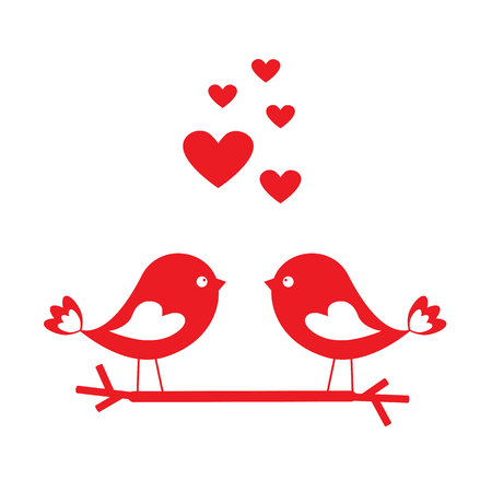 two animals: Love birds with red hearts - card for Valentines day. Vector illustration Illustration