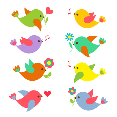 Colorful Springtime birds with flowers.Set of vector elements for child design