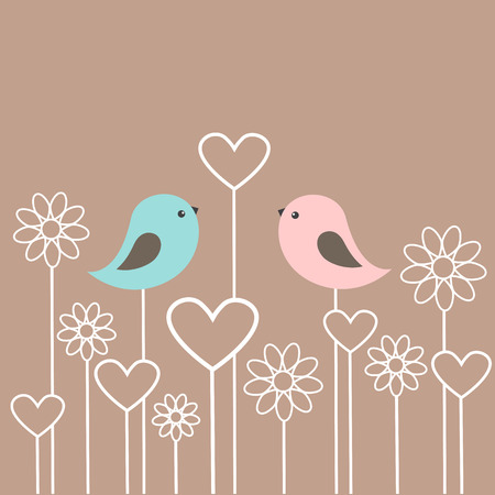 two animals: Couple of cute birds with flowers and hearts. Vector card for Valentine day in retro style Illustration