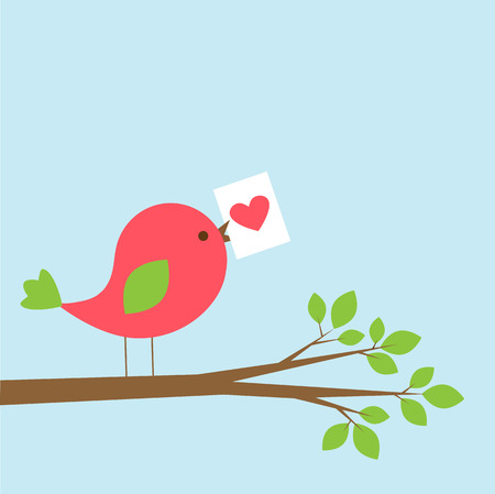 Cute bird with Valentine card on branch. Vector illustration