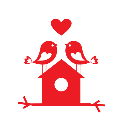 cute love: Cute birds in love and birdhouse - card for Valentine day. Vector illustration