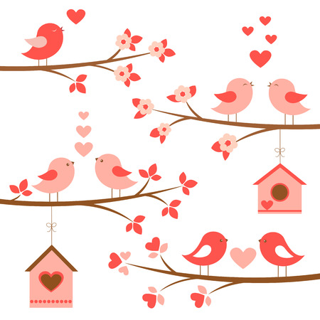 Set of cute birds in love on blooming branches. Red and pink birds,birdhouses,hearts,flowers. Vector elements for Valentine day