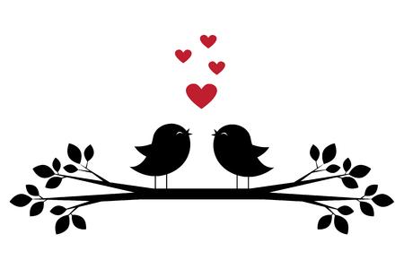 Siluetas de pájaros lindos cantan y corazones rojos. Tarjeta elegante para el día de San Valentín. Ilustración del vector