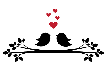 Silhouettes of cute birds sing and red hearts. Stylish card for Valentine day. Vector illustration