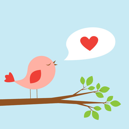 messenger: Cute bird and speech bubble with heart. Vector card for Valentine day Illustration