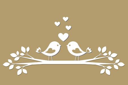 종이에서 잘라하는 마음과 귀여운 새들. 세련된 벡터 카드 발렌타인 데이