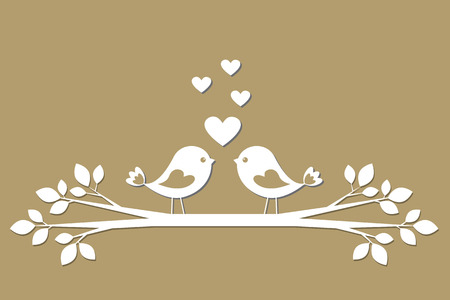 Cute birds with hearts cutting from paper. Stylish vector card for Valentine day