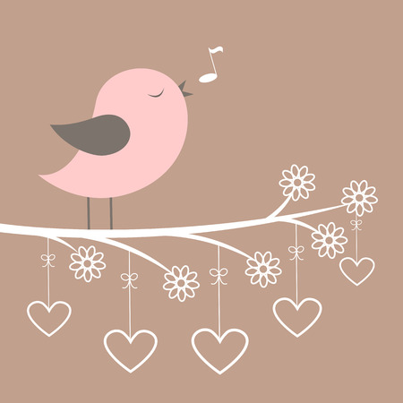 Cute pink bird sing with lacy flowers and hearts . Vector illustration