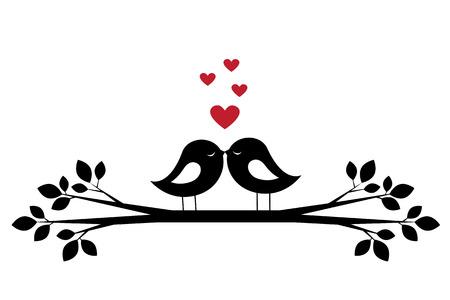 Silhouetten schattige vogels kus en rode harten. Stijlvolle kaart voor Valentijnsdag. Vector illustratie