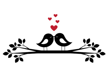 Silhouettes cute birds kiss and red hearts. Stylish card for Valentine day. Vector illustration