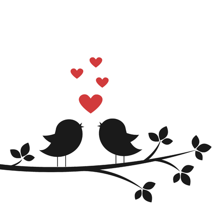 Silhouettes cute birds sing in Love. Stylish card for Valentine day. Vector illustration