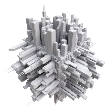 white cube: 3d city on cube Stock Photo