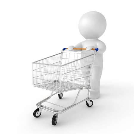 3d human with shopping cart - from my 3d human collection Stock Photo