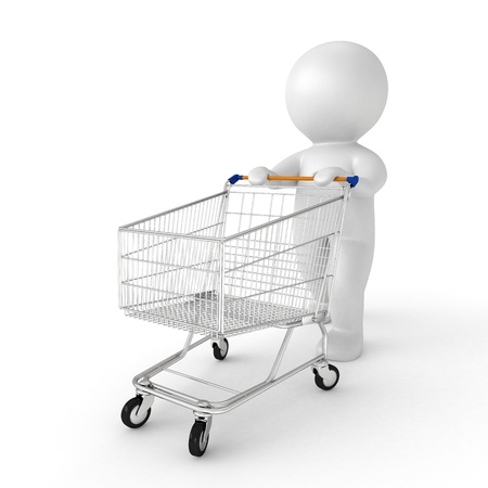 mujer en el supermercado: Humano 3d con el carro de la compra - de mi colección humano 3d