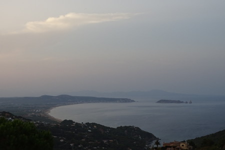 mediterranian: Sea view with islands from Catalonia, Spain in a foggy day