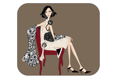 cocktail dress: Girl sitting on a chair with a cocktail dress and shawl Illustration
