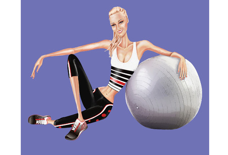 couture: Girl athlete, he is sitting leaning on a pilates ball
