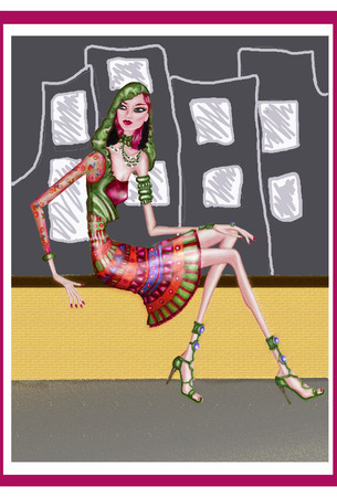 couture: Girl With dress sitting ethnic, city background Illustration