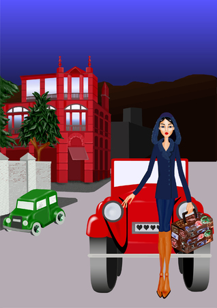 architectural styles: Girl with a coat and a suitcase, leaning against a car, is a city background