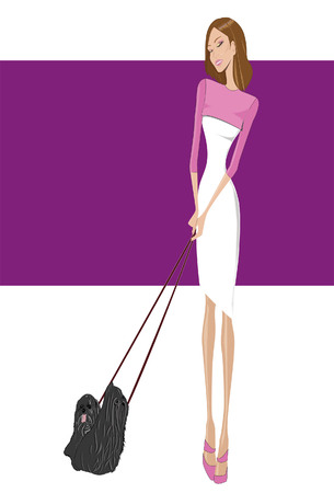 readymade: Girl with a pink and white dress walks her dogs Illustration