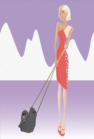 readymade: Asima girl dress trich walking her dog