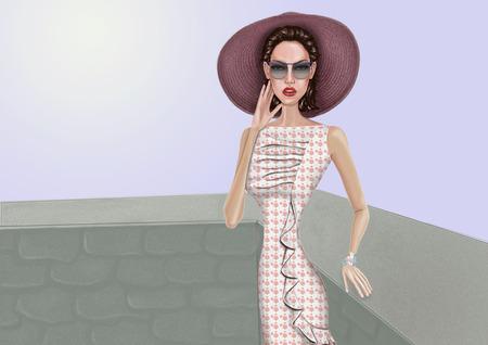 readymade: Beautiful girl in a sundress, sunglasses and pamela. Stock Photo