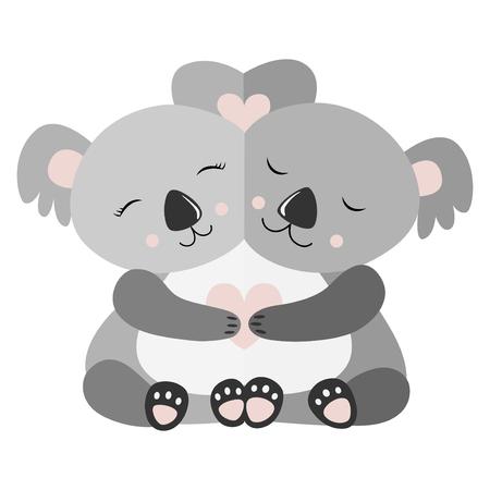 Abrazando la ilustración de Vector de postal de Koala