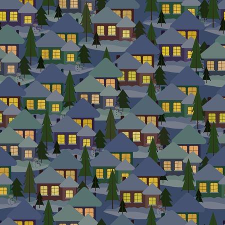 Snowy houses Seamless pattern Illustration