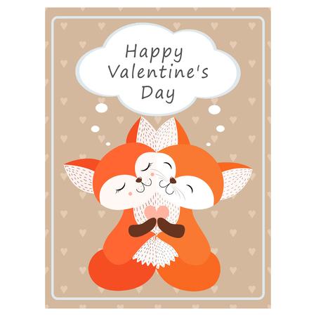 Valentine's day greeting vintage card.Hugging Fox Vector illustration Illusztráció