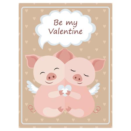 Valentines day greeting vintage card.Hugging Piggy Vector illustration Illustration