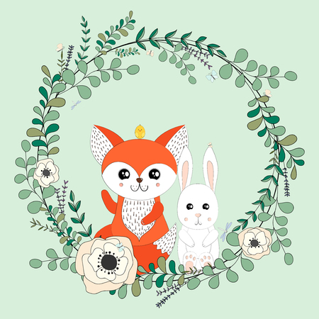 Vector eucalyptus and flower wreath.Greeting card. Hand drawn vector illustration with cute fox, rabbit and chicken in flowers