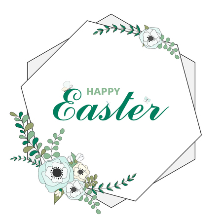 Colorful Happy Easter greeting card with floral wreath and text. Geometric print frame. Easter background. Hand drawn vector illustration Stok Fotoğraf - 105260291